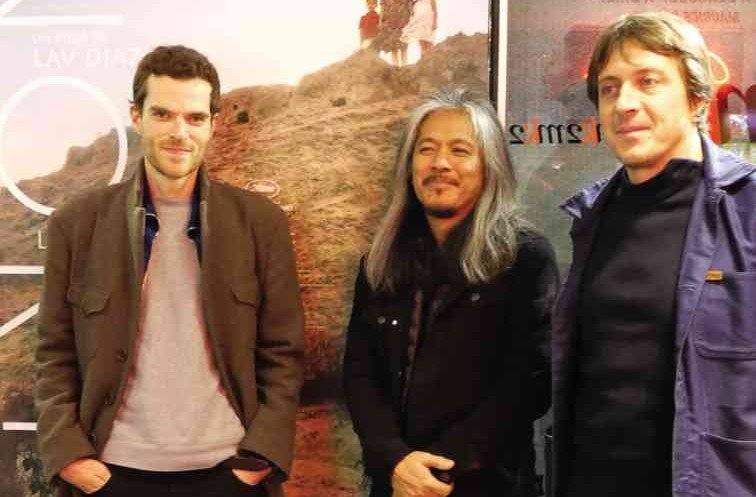 LAV DIAZ with distributor Thomas Shellac (right) and programmer Antoine Thirion (left) at MK2 Beaubourg  Photos courtesy of Hazel Orencio